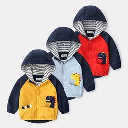 yellow children jackets NZ - Boys Clothes Spring Dinosaur Windbreaker Trench Baby Boys Jacket Coat Clothes For Girls Autumn Kids Jacket Children 2020