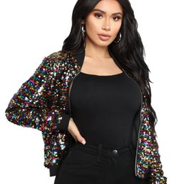 $enCountryForm.capitalKeyWord UK - Stylish jacket women Sequin Long Sleeve short Tops Casual Coat bomber jackets colorful streetwear d90525