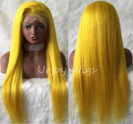 celebrity lace front wigs indian UK - Celebrity Wig Full Lace Wigs Blue Color Silky Straight Yellow Color 10A Virgin Chinese Human Hair Front Lace Wigs for Black Wig