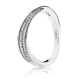 5c9248eb4 Authentic 925 Sterling Silver Elegant Waves Ring Clear CZ For Women Wedding  Engagement Party Fine Pandora Jewelry Birthday Gift