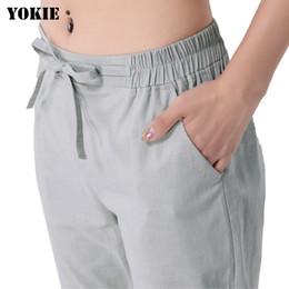 Wholesale black linen trousers women resale online – Harem pants women cotton linen loose elastic high waist solid causal pants capris female trousers Black Blue Gray Plus size T200319