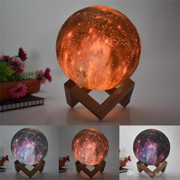 Color Diy Painting Australia - LED 3D Moon Starry Sky color Painted patterns Globe Lamp Glowing Luna 3.15'' Mini Night Light Bedroom Decoration remote control 8c