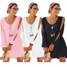 $enCountryForm.capitalKeyWord Australia - Women Casual Beach Dress Loose Shirt Dresses Long Sleeve Dress Solid off-the-shoulder Midi Dresses Blusas Vestidos Clothes