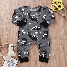 kids dinosaur clothing Canada - 2019 Autumn Infant Baby Kids Cotton Rompers Child Boy Cartoon Dinosaur Long Sleeve Onesies Toddlers Climb Clothes Babies Romeprs 15291