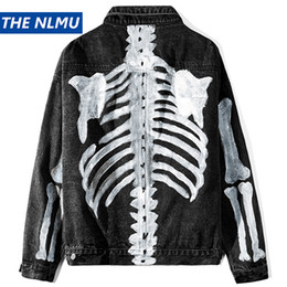 painting clothing Australia - Hip Hop Loose Denim Jacket 2020 Skeleton Hand-painted Hip Hop Denim Jean Coat Streetwear Outerwear Men Casual Clothes WO238
