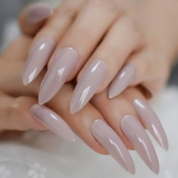 long finger nails Australia - Fashion Taro Purple Gray Extra Long Sharp Stiletto False Nails Tips Press On Stilettos Nails For Fingers Wear Free Glue Sticker