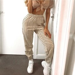 Wholesale elastic band pants for sale – dress Letter Ankle Banded Pants Womens Street Style Elastic Waist Sweatpants INS Style Womens Designer Trousers