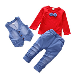 $enCountryForm.capitalKeyWord Australia - Spring Children's Sets Baby Boy Long Sleeve Solid Soft Cotton Shirt Tops+Vest+Long Pants Trousers Toddler Casual Clothes Set