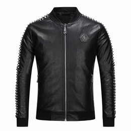 Korean leather jacKet brands online shopping - Men s jacket hip hop European and American tide brand rivet PP leather jacket Korean version of the skull zipper PU leather men s tide