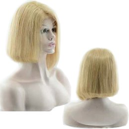 12 14 16 inch wig Australia - High Quality Bob Blonde Malaysian Human Hair Wig Silk Straight 12 14 16 inches Swiss Full Lace Front Wigs Perruques De Cheveux Humains