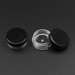 Round Plastic Jars Lids Australia - 100pcs Round Base 2g Gram Transparent Cream Jar With Black Lid 2ml Clear Plastic Jar Empty Cosmetic Containers Mini Packaging