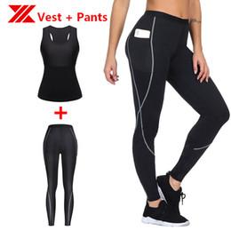 Slimming Sauna Vest Australia - HEXIN Women Vest Pants 2Pcs One Set Sauna Raceback Mesh Slimmer Neoprene body Shaper Tank Shaper Tummy Compression Waist Trainer