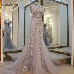Evening Dresses Lace Up Back Australia - Ls01980 Mermaid Evening Gown Lace Up Back Cap Sleeves O-neck Beaded Formal Evening Gowns Grey Sheath Dress For Women Hot Sell Y19051401