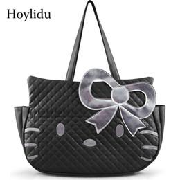 $enCountryForm.capitalKeyWord Australia - 2019 Fashion Cute Hello Kitty PU Women Leather Handbags Female Black Cartoon Shoulder Bag For Girls Casual Large Capacity Travel Tote Bag