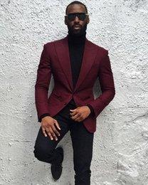 $enCountryForm.capitalKeyWord Australia - New Fashionable Groom Tuxedos Groomsmen Burgundy Peak Lapel Best Man Suit Wedding Men's Blazer Suits (Jacket+Pants) 1287