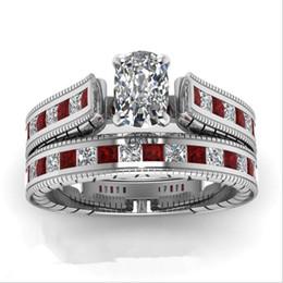 $enCountryForm.capitalKeyWord Australia - Charm Men Womens 2pcs Gemstone Zircon Wedding Engagement Ring Set Alloy Band Rings Jewelry Size 5~12