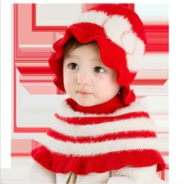 $enCountryForm.capitalKeyWord Australia - Cute Baby Bow Knit Hat+Poncho Set Winter 2019 Kids Boutique Accessories 0-2T Children Girls Warm Hats Cap 2 PC Set
