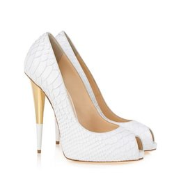 $enCountryForm.capitalKeyWord Australia - AAAWhite Fish Pattern Leather Spike Heels Women Pumps Famous Brand Designer Prom Party Dress Shoes For Wedding Bride Shoes Woman Big Size 42