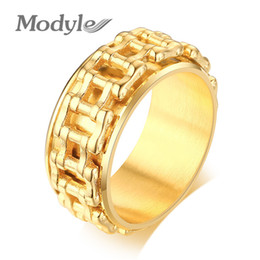 bicycle rings Australia - Modyle Hip Hop Male Jewelry Gold Color Stainless Steel Motorcycle Biker Bicycle Chain Wedding Bands Spinner Ring for Man