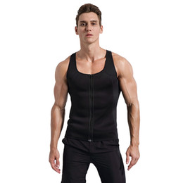 $enCountryForm.capitalKeyWord NZ - Men Sleeveless Fitness Vest Thermal Zipper Sweating Slimming Sauna Tank Top Gym Running Workout Tops Sportswear Body Shaper