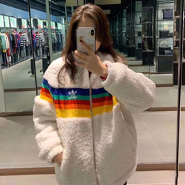 Wholesale lamb cotton wool for sale - Group buy Cotton red red lamb wool coat female winter coat ins rainbow warm cotton clothesWomen s coats are stylish with extra padding