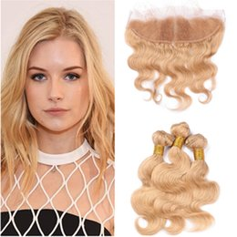 closures wave UK - #27 Brazilian Honey Blonde Human Hair with Lace Frontal Middle Part Body Wave Strawberry Blonde 13x4 Full Lace Frontal Closure with 3Bundles