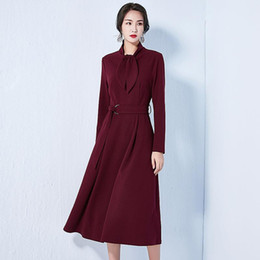 1badf86bc92f 2019 spring new women s scarf collar long-sleeved long dress temperament  European and American style with large swing skirt simple