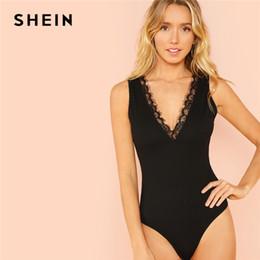 6c04afd0d2 SHEIN Black Lace Trim Form Plunging Neck Fitting Bodysuit Sexy Deep V Neck  Sleeveless Bodysuit Women Summer Skinny Bodysuit Y190424