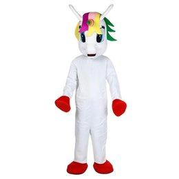 Ingrosso Costume della mascotte di unicorno Flying Horse Mascot Costume Arcobaleno pony costume in maschera per adulto animale Festa di Halloween