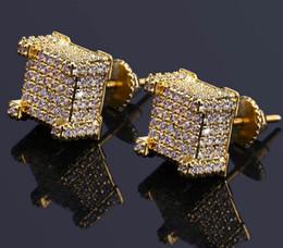 $enCountryForm.capitalKeyWord Australia - MENS HIP HOP 18K YELLOW GOLD FINISH LAB DIAMOND SCREW BACK STUD EARRINGS