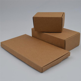 brown paper gifts Canada - 5pcs lot Natural Brown Kraft Paper Small Gifts Packaging Box Carton Paperboard Wedding Party DIY Supply Packing Box 30Sizes