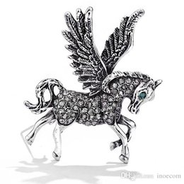 Horse Suit NZ - Vintage Flying Horse Brooches For Women 2019 Fashion Rhinestone Animal Brooch Pin Men's Suit Corsage Brooches Jewelry