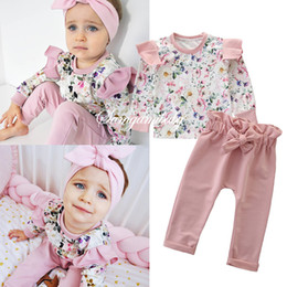 $enCountryForm.capitalKeyWord Australia - INS Toddler kids outfits girls floral printed patchwork falbala fly sleeve tops+Bows elastic pants 2pcs sets autumn Baby girls clothes F8617