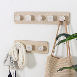 $enCountryForm.capitalKeyWord NZ - Japanese style boho print Decorative Wall Hook Rack Coats Hats Keys Towels Clothes Aprons Hanger #121