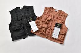 Men cotton vests online shopping - 19fw New luxurious brand design compass Camo Cargo Vest Men Women Fashion casual Streetwear Sweatshirts Outdoor shirts