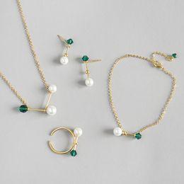 925 Silver Pearls Necklace Australia - New Wedding Jewelry Sets For Women 100% 925 Sterling Silver Green Zircon Pearl Necklace Rings Bracelets Earring Set