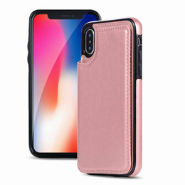 iphone rose gold skin Australia - For iPhone X XR Crazy Horse Skin Leather Car Card Stand Case Slim Business Phone Bag Cover for iPhone XS Max Samsung Galaxy Huawei P30pro