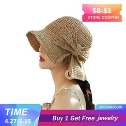 straw sun hat brown Australia - Parent-child 100%raffia Bow Sun Hat Wide Brim Floppy Summer Hats For Women Beach Panama Straw Dome Bucket Hat Femme Shade