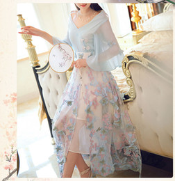 $enCountryForm.capitalKeyWord Australia - Chinese Ancient Costumes Tang Dynasty Daily Dress Cosplay Dresses Costume Blue Solid Embroidery Butterfly Fairy Yarn Dress for Women