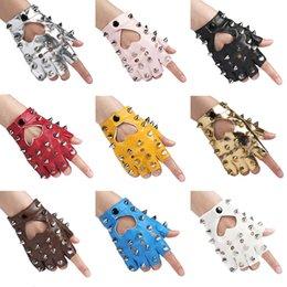 Leather Rivet Gloves Australia - Women rivet gloves hip-hop star style heart cutout semi-finger dancing gloves lady's sexy punk glove