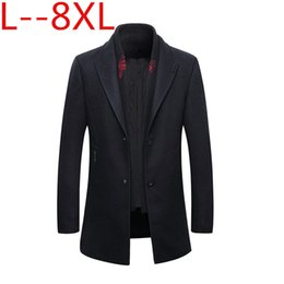 Wholesale 6xl men pea coats for sale - Group buy 8XL XL X men s autumn and winter wool jacket removable quilted lining button wool blends pea coat thick padded jacket coat men