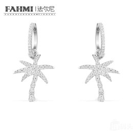 sapphire studs earrings UK - FAHMI 100% 925 Sterling Silver Crystal Diamond Palm Tree Earrings AE10563OX High Quality Women's Jewelry Free Shipping