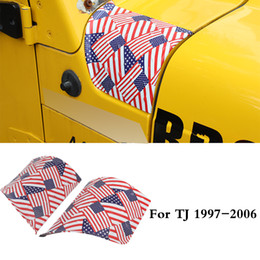 angle cover Canada - ABS Hood Angle Wrap Covers Decoration For Jeep Wrangler TJ 1997-2006 Second Generation Auto Exterior Accessories(Colored american flag)