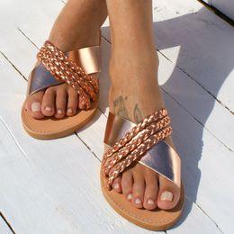 $enCountryForm.capitalKeyWord Australia - 1Summer Flip Flops Women Woven Cross Slippers Beach Sandals Women Open Toe Platform Slippers Casual Shoes