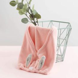 $enCountryForm.capitalKeyWord Australia - Wrapped Towel Cute Quick-Dry Hair Towel Turban Quickly Dry Hair Hat Bath With Cute Rabbit Ears Beach Towels Bathroom Accessories