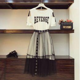 Off Shoulder T Shirts Design Australia - 2019 Summer Women Gauze Skirt Sets Two Piece Set Long Design Off Shoulder T Shirt & Gauze Skirt Students Holiday Outfits Y19051501