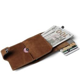 $enCountryForm.capitalKeyWord Australia - New Brand Genuine Leather Mini Rfid Blocking Wallet Men Business Credit Card Holder Metal Aluminium Automatic Cards Box Purse J190702