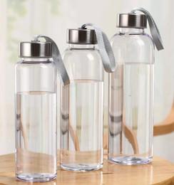 300ml 400ml 500ml garrafas ao ar livre Esportes aquáticos plástico transparente Copos Rodada estanques com corda elevador portátil de viagens Água Cup GGA2632 em Promoção