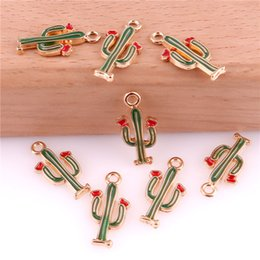 cactus charms Australia - 50pcs Cactus 9*18mm Alloy Enamel Charm Jewelry Making Drop Oil Pendant DIY Earring Bracelet Necklace Fashion Accessory