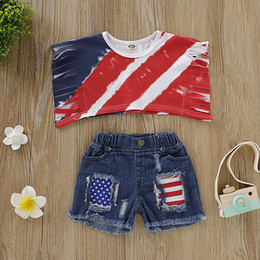 Winter Baby Suit Designs Australia - Summer Baby Boys Clothes for Girls Short Sleeve Tassel Design T-shirt Tops+Denim Shorts Casual Suits Costume Set Fashion